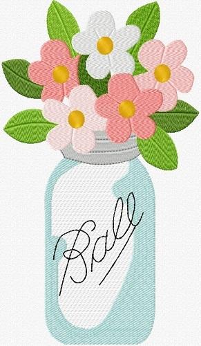Ball Jar Of Flowers