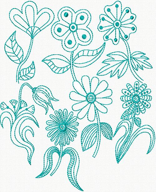 Bluework Florals III