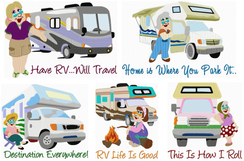 Model Trailer Camper RV Embroidery Designs