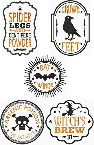 Spooky Halloween Style Labels