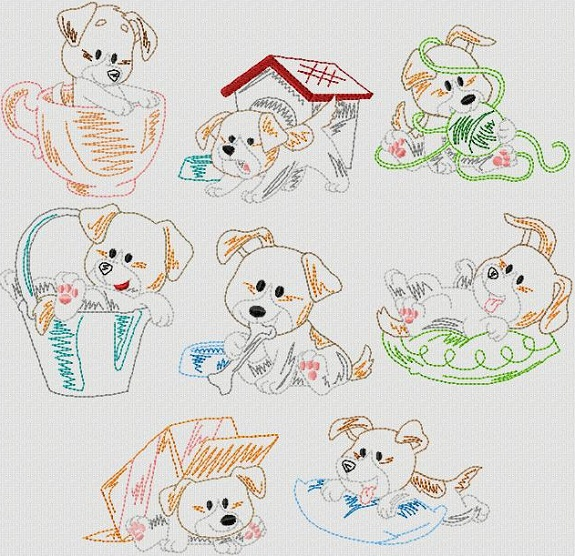 Vintage Stitchery Playful Pups