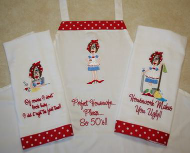 Sassy housework girls - Free embroidery designs for kitchen towels ...