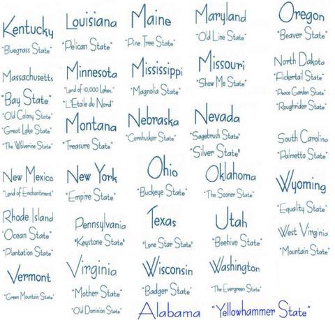usa state nicknames