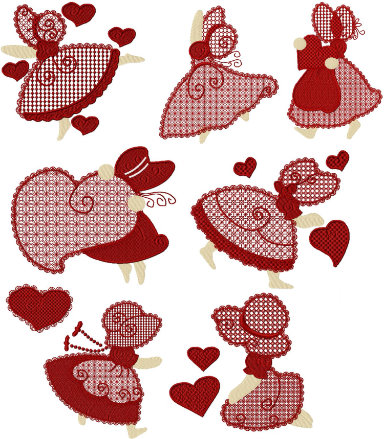 Sunbonnet Valentines II