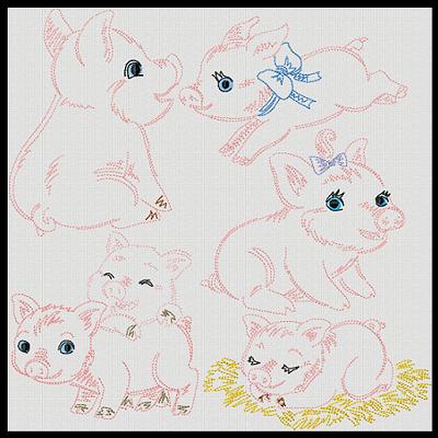 Vint Stitchery Playful Pigs