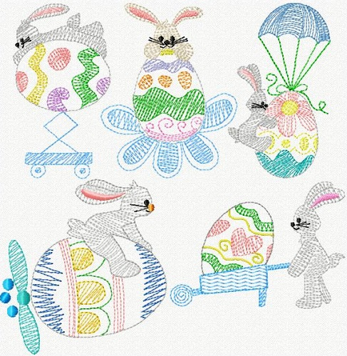Swirly Easter Bunnies I