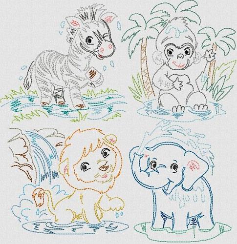 Vintage Stitchery Bath Animals