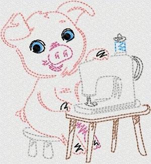 Vint Stitchery Sewing Pigs