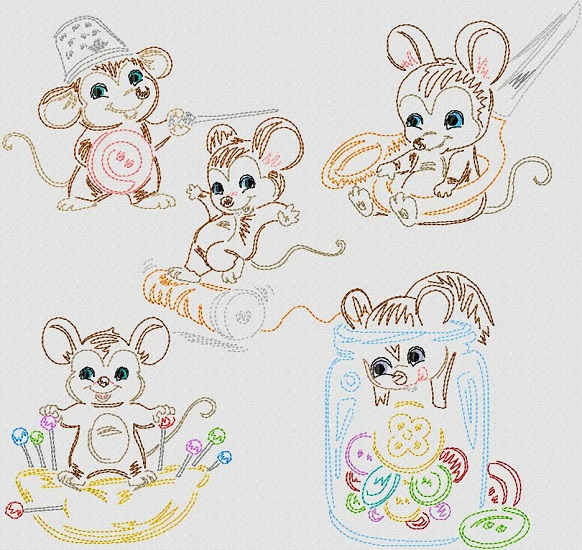 Vintage Stitchery Sewing Mice II